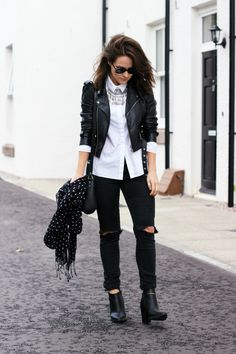 Cos white shirt. black torn jeans