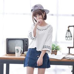 Mori Girl Style Fashion 2016 Summer Women's Small Fresh Three Quarter Sleeve Loose Young Girl Student T-Shirt