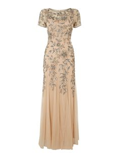 Adrianna Papell Short sleeve flower sequin dress Taupe £116.00 AT vintagedancer.com