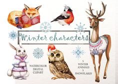 set with watercolor characters - wild animals in warm winter clothes