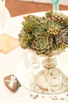 """Some gorgeous pics of Michelle & Alan's """"Beach & Berg"""" . Tall Glass Vases, Floating Flowers, Rose Bowl, June 22, Round Mirrors, Silver Roses, Decorative Items, Succulents, Stones"""