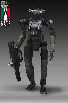 ArtStation - Parallel warfare -S.P Robot police, Theodore Zheng Cyberpunk Rpg, Cyberpunk Character, Sci Fi Armor, Sci Fi Weapons, Robot Concept Art, Armor Concept, Futuristic Art, Futuristic Technology, Military Robot