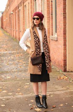 white sweater + black skirt + burgundy hat + leopard scarf