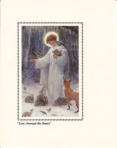 Christmas Print  Love Amongst the Snows  Vintage by unboundimage