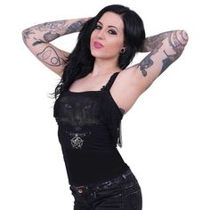 Black Cat, gothic fantasy metal kat dames spaghetti top met franjes zwart - XXL - Spiral