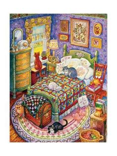 More Bedroom Cats Giclee Print