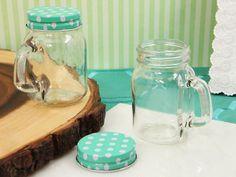 Opentip.com: Cassiani Collection 706 Classic Mason jar favor mint green dot lid 5 oz