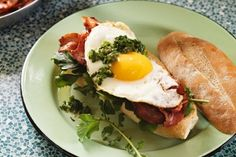 Bacon and egg rolls with green sauce