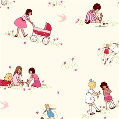 Girls with Dolls Removable Wallpaper