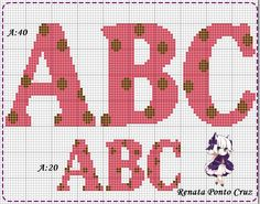 Monograma com bolinhas Cross Stitch Alphabet Patterns, Cross Stitch Letters, Cross Stitch Embroidery, Embroidery Patterns, Stitch Patterns, Abc Alphabet, Alphabet And Numbers, Plastic Canvas Letters, Crochet Letters