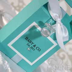 Baby Shower Favors - Tiffany & Co. Inspired Gable Box - 1 Dozen on Etsy, $27.00