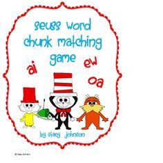 Free Dr. Seuss Matching Game with word chunks ai/ay, ew/ui/ue, ow/ou, oa/ow