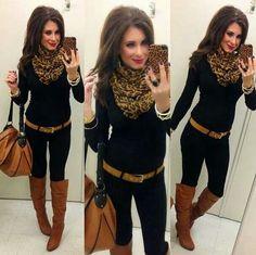 Creepy woman but cute Leopard scarf outfit Casual Winter Outfits, Casual Wear, Fall Outfits, Casual Summer, Outfit Winter, Mode Outfits, Fashion Outfits, Womens Fashion, Look Fashion