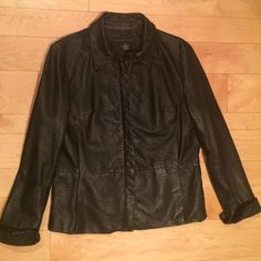 """Genuine Leather Jacket Black Animal Embossed 12 A p o s t r o p h e  brand misses size 12 authentic LEATHER jacket. Good used condition. Zip closure. Motorcycle. Fits true to size 12. The sleeves fit petite cuffed up at 15"""" and are 18"""" not cuffed. So, works for 12p cuffed or regular un-cuffed. Super clean, non smokers. Get that real leather jacket and sell your pleather one on Poshmark. Apostrophe Jackets & Coats Blazers"""
