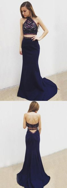 Sexy Two Piece Mermaid Halter Backless Navy Blue Long Prom Dress with Beading Embroidery #navybluetwopiecespromdresses #mermaidpromdresses #prom #dresses #longpromdress #promdress #eveningdress #promdresses #partydresses #2018promdresses #halterpromdresses