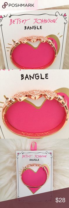 Betsey Johnson Rose Gold Triple Heart Pave Bangle Pretty pink pave hears accented with clear crystals in a unique bangle in rose gold-tone mixed metal. Betsey Johnson Jewelry Bracelets