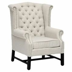 "$512  Diamond-tufted wingback arm chair with nailhead trim and a birch wood frame.    Product: Set of 2 chairsConstruction Material: Birch wood, polyurethane foam and linenColor: Beige and blackFeatures: Button-tufted accents and nailhead trimDimensions: 42.75"" H x 27"" W x 31.5"" D eachCleaning and Care: Spot clean only"