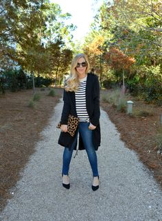 BB Dakota Daisy coat with striped shirt, skinny jeans, heels, and animal print clutch.