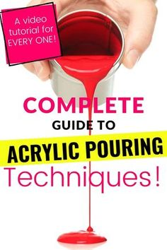 Learn everything you wanted to know about acrylic pour painting with this Comprehensive Acrylic Pour Painting Technique Guide! Video tutorials and written discriptions and step-by-step nstructions for EVERY technique in ONE PLACE! Great for beginners! Pour Painting Techniques, Acrylic Pouring Techniques, Acrylic Pouring Art, Acrylic Art, Acrylic Painting Lessons, Acrylic Painting Tutorials, Diy Painting, Learn Painting, Painting Hacks