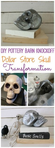 How to makeover a dollar store plastic skull - Pottery Barn Knockoff Halloween Decor at The Happy Housie