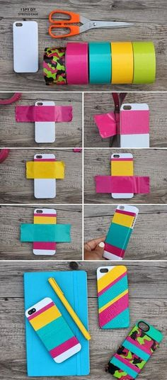 Mobile phone customised cover/case just use coloured or patterned duct or material tape