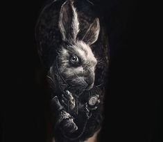 White Rabbit from fantasy movie Alice in Wonderland, black and grey realistic tattoo style done by tattoo artist Eliot Kohek White Rabbit Tattoo, Rabbit Tattoos, Body Art Tattoos, Cool Tattoos, Natur Tattoo Arm, Tattoo Collection, White Rabbit Alice In Wonderland, Lsd Art, Fusion Ink