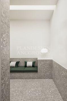 Lobby Interior, Gray Interior, Cafe Interior, Office Interior Design, Office Interiors, Interior Architecture, Floor Design, Wall Design, Shoe Room