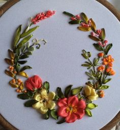 silk ribbon embroidery designs and techniques Ribbon Embroidery Tutorial, Hand Embroidery Patterns Flowers, Silk Ribbon Embroidery, Hand Embroidery Designs, Embroidery Supplies, Embroidery Stitches, Machine Embroidery, Diy Lace Ribbon Flowers, Ribbon Art