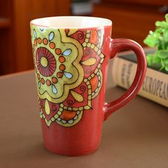 Handmade cute cool oversized tea cup tall pottery funny coffee milk mug painted big large coffee cup ceramic vintage Tall Coffee Mugs, Painted Coffee Mugs, Coffee Milk, Coffee Cups, Tea Cups, Painted Pottery, Pottery Mugs, Pottery Painting, Ceramic Pottery