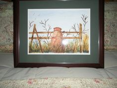 Autumn Original Watercolor of Milk Can and Fence by ArtForComfort, $135.00