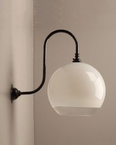 Our Handblown white and clear glass Hereford shade is exclusive to Fritz Fryer and looks fantastic on our Swan Neck Wall light. Contemporary Wall Lights, Wall Light Fittings, Hereford, Modern Glass, Glass Globe, Modern Industrial, Lampshades, Deco, Colored Glass