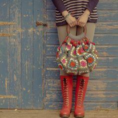 Afghan Granny Bag Crochet pattern by Sue Maton Bag Crochet, Crochet Purses, Crochet Gifts, Crochet Hooks, Crochet Baby, Crocheted Bags, Crochet Handbags, Christmas Knitting Patterns, Crochet Patterns