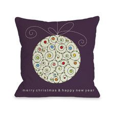 Holiday Large Ball Ornament Polyester Throw Pillow