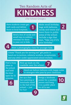 10 Random Acts of Kindness for School Groups. All sweet and fun ideas = great bonding for the group and joy for all the recipients!