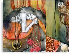 """This is """"Persephone"""" by Patricia Ariel. I live with an eye disease that causes a """"Persephone effect,"""" so I'm drawn to her, and this style is like Klimt, a favorite artist. Goddess Of The Underworld, Hades And Persephone, Gods And Goddesses, Greek Mythology, Roman Mythology, Limited Edition Prints, Illustration Art, Fine Art, Drawings"""