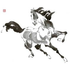 Running Horse T Shirt Womens Cut Tee s Various Colors Dancing Drawings, Horse Drawings, Chinese Painting, Chinese Art, Chinese Brush, Japanese Watercolor, Horse Sketch, Yarn Painting, Horse Artwork