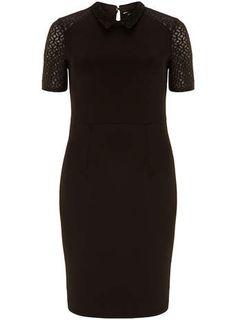 Black collar pencil dress - View All Dresses - Dresses Dress Up, High Neck Dress, Petite Outfits, Womens Fashion Online, Pencil Dress, Work Wear, Street Style, Dresses Dresses, Virtual Closet
