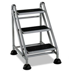 Cosco 3 Step Steel Rolling Commercial Step Stool With 300 Lb. Load Capacity