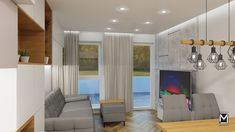 Układ funkcjonalny, duże okna, soft loft Divider, Curtains, Room, Furniture, Home Decor, Bedroom, Blinds, Decoration Home, Room Decor