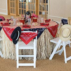 I love this idea for a table! Western Table Setting, Cowboy Table Settings, Western Table Settings