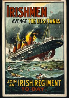Propaganda poster calling for revenge following the Germans' sinking of the RMS Lusitania (UK, 1915)