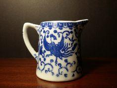 Nippon Noritake Phoenix Blue Pattern Creamer Early Vintage Bird Porcelain Flow Blue by NewOxfordVintage on Etsy