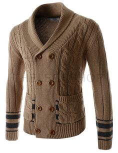 (CEC02-BROWN) Mens Slim Double Breasted Twist Shawl Collar Knitted 8 Button Cardigan