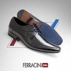 A sola dos sapatos da linha Madrid é feita com couro e personalizada em laser para torná-la antiderrapante e garantir a sua segurança na hora de caminhar. A forma alongada garante charme às produções e deixa os looks ainda mais alinhados. A calcanheira de alta frequência permite conforto e bem-estar por longos períodos de tempo.  #ferracini24h #shoes #cool #trend #brasil #manshoes