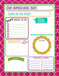 My Homeschool Day sheet to keep me on track and make record keeping a bit easier!! There's a complete binder set if you go to the link!