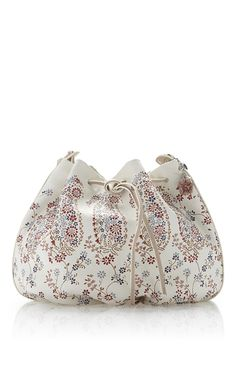 White Hand Stenciled Leather Drawstring Bucket Bag by ETRO for Preorder on Moda Operandi