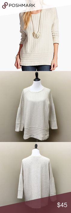 """Lucky Brand Cream Woven Mixed Pullover- New w/Tags Stylish casual pullover crafted from cotton, viscose and linen. Features a scoop neck, three-quarter sleeves and mixed material detailing. Approx 25"""" inches long, 25.8"""" sleeve length (from center back). Brand new with tags! Retails $90 Lucky Brand Sweaters Crew & Scoop Necks"""