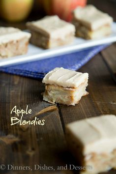 Apple Blondies with Cinnamon Brown Sugar Frosting - Insanely good; icing is amazing - use for other cupcakes and muffins. Consistency of blondies was more like a moist cake.