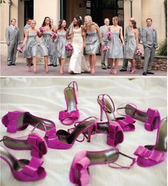 definitely thinking about gray bridesmaids. i love this look- and the purple will really pop.