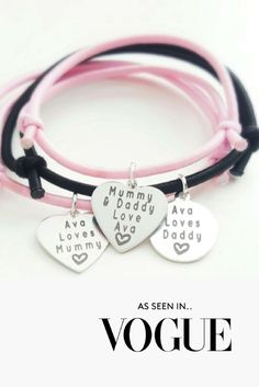 DELUXE EDITION MUMMY, DADDY & ME BRACELETS (SET OF 3) #vogue #baby #babygifts #christening #birthday #family #babyboutique
